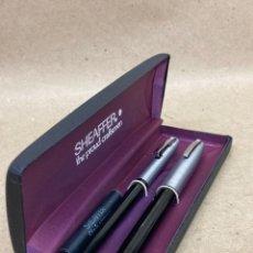 Stylos-plume Anciens, stylos-bille et becs de plume: JUEGO SHEAFFER PLUMA Y BOLÍGRAFO CUERPO LACADO NEGRO. Lote 234304715