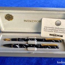 Estilográficas antiguas, bolígrafos y plumas: SET/LOTE PLUMA Y BOLÍGRAFO INOXCROM. Lote 238475530