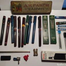 Estilográficas antiguas, bolígrafos y plumas: GRAN LOTE AÑOS 60-70 MATERIAL DE DIBUJO DELINEACION. Lote 243252125