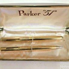 Estilográficas antiguas, bolígrafos y plumas: JUEGO PARKER 51 SIGNET. Lote 245953290