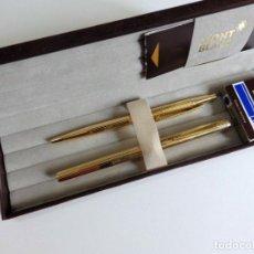 Estilográficas antiguas, bolígrafos y plumas: MONTBLANC NOBLESSE SET VINTAGE, FOUNTAIN PEN AND BALLPOINT PEN, METAL DORADO. Lote 250221455