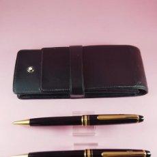 Estilográficas antiguas, bolígrafos y plumas: JUEGO+FUNDA-MONTBLANC 145 CHOPEN-GERMANY-PORTAMINAS+BOLÍGRAFO-EXCELENTE-RESINA NEGRA+ORO-. Lote 254007530