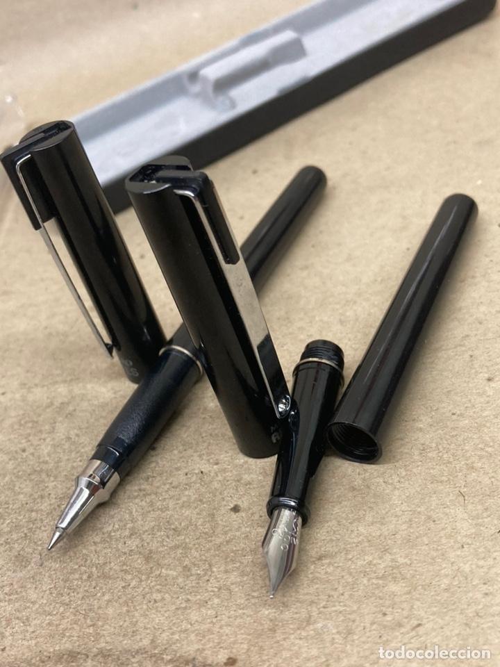 Estilográficas antiguas, bolígrafos y plumas: Juego Micro pluma y bolígrafo cuerpo celuloide negro - Foto 2 - 254314120