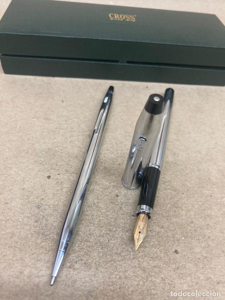 Estilográficas antiguas, bolígrafos y plumas: Juego Cross pluma y bolígrafo cuerpo acerado - Foto 2 - 254671835