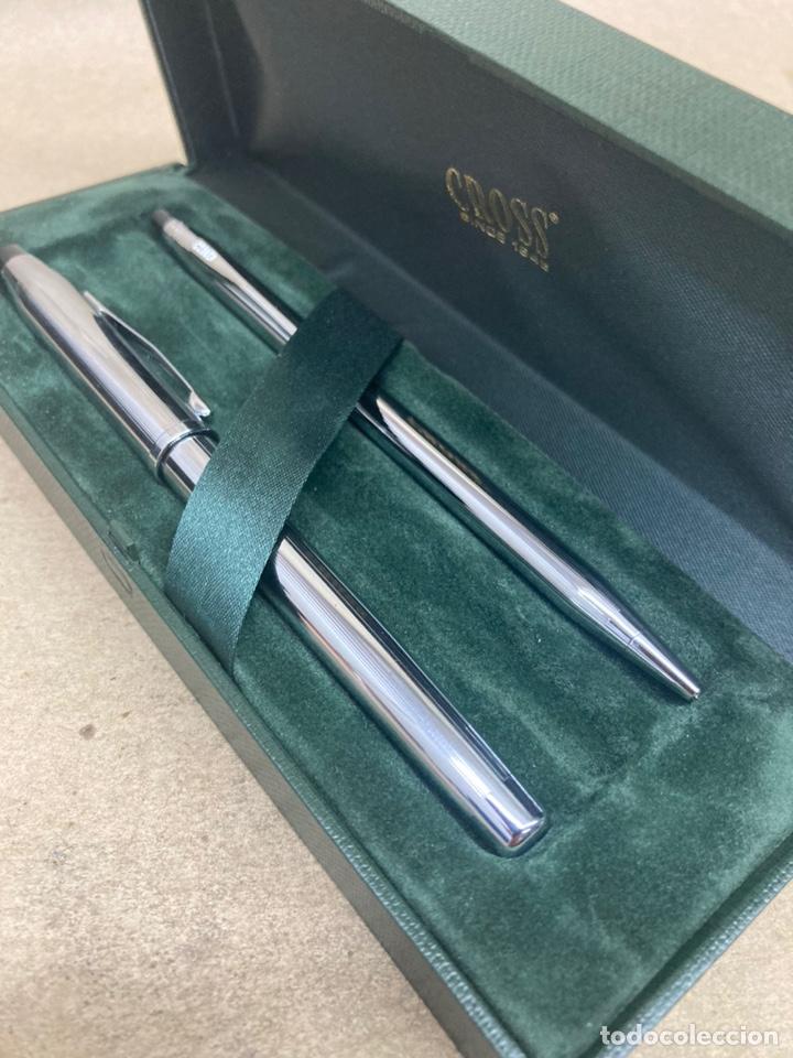 Estilográficas antiguas, bolígrafos y plumas: Juego Cross pluma y bolígrafo cuerpo acerado - Foto 4 - 254671835