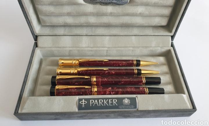 Estilográficas antiguas, bolígrafos y plumas: Lote Parker Duofold Marble Maroon Pluma,Rollerball,Ball Pen y Pencil - Foto 2 - 254749235