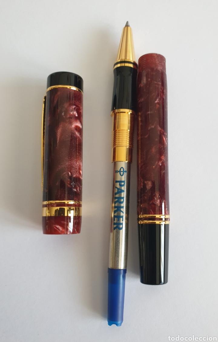 Estilográficas antiguas, bolígrafos y plumas: Lote Parker Duofold Marble Maroon Pluma,Rollerball,Ball Pen y Pencil - Foto 12 - 254749235