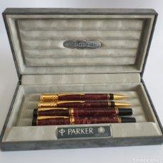 Canetas de tinta permanente antigas, esferográficas e plumas: LOTE PARKER DUOFOLD MARBLE MAROON PLUMA,ROLLERBALL,BALL PEN Y PENCIL. Lote 254749235