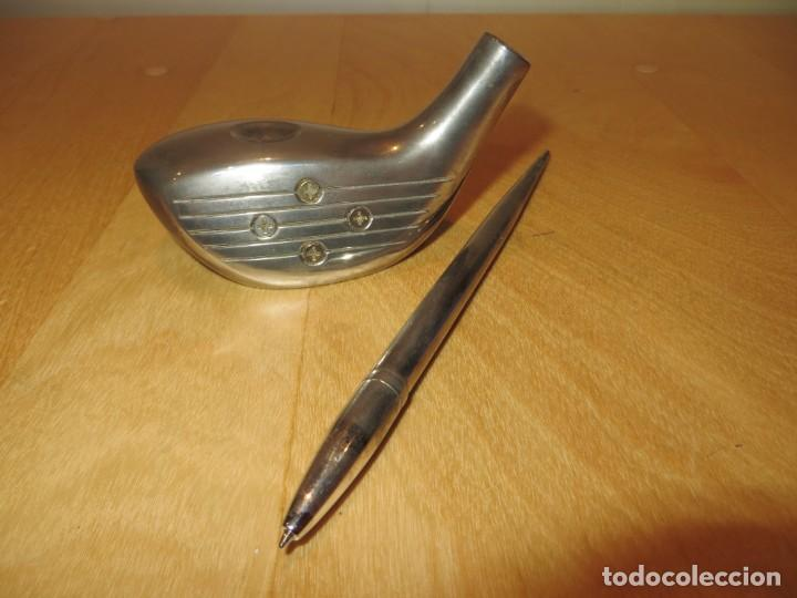 Estilográficas antiguas, bolígrafos y plumas: Conjunto juego escribanía porta bolígrafo soporte sobremesa Golf metal plateado - Foto 3 - 254820470