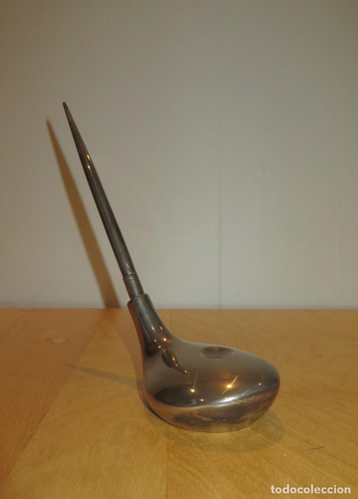 Estilográficas antiguas, bolígrafos y plumas: Conjunto juego escribanía porta bolígrafo soporte sobremesa Golf metal plateado - Foto 5 - 254820470