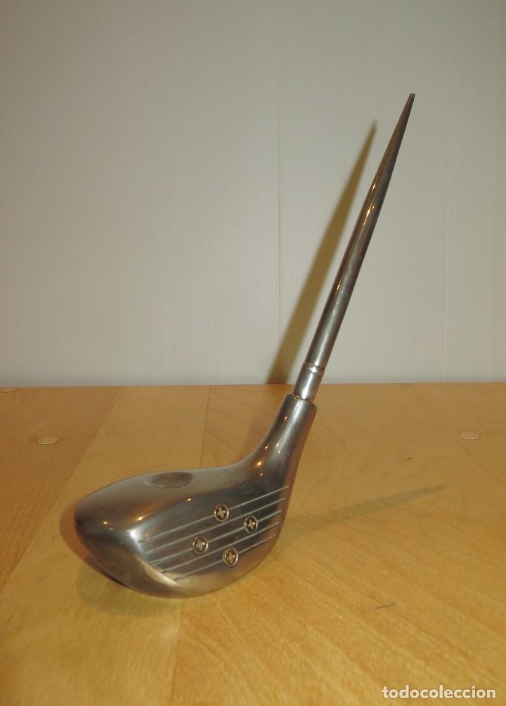 Estilográficas antiguas, bolígrafos y plumas: Conjunto juego escribanía porta bolígrafo soporte sobremesa Golf metal plateado - Foto 7 - 254820470