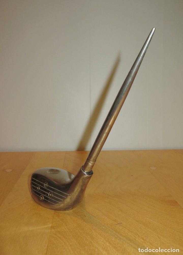 Estilográficas antiguas, bolígrafos y plumas: Conjunto juego escribanía porta bolígrafo soporte sobremesa Golf metal plateado - Foto 8 - 254820470