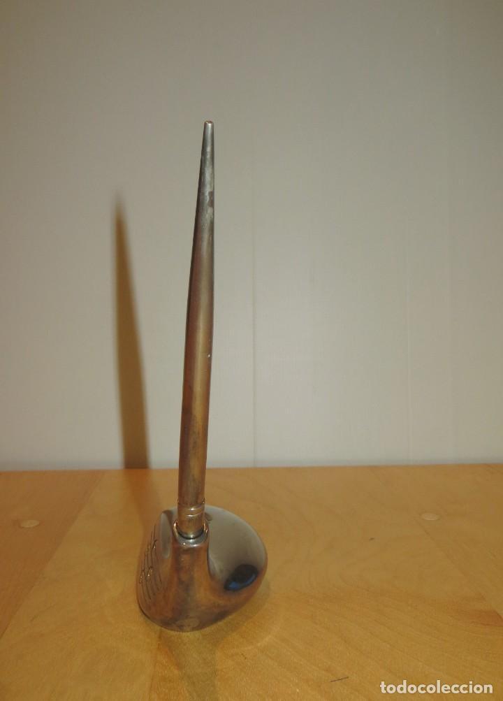 Estilográficas antiguas, bolígrafos y plumas: Conjunto juego escribanía porta bolígrafo soporte sobremesa Golf metal plateado - Foto 9 - 254820470