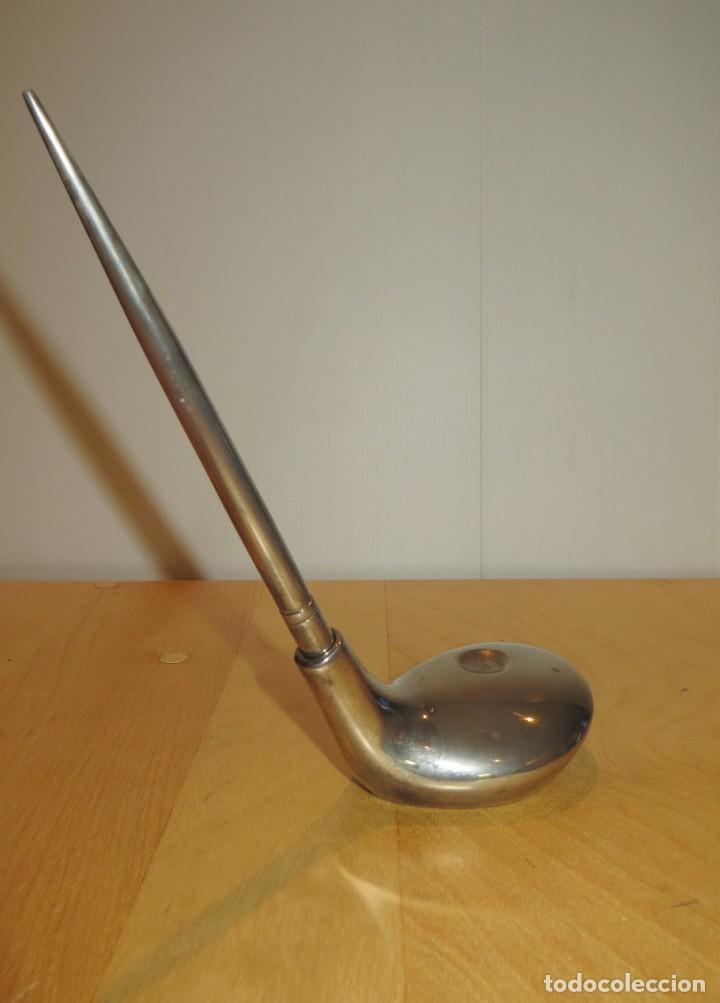 Estilográficas antiguas, bolígrafos y plumas: Conjunto juego escribanía porta bolígrafo soporte sobremesa Golf metal plateado - Foto 10 - 254820470