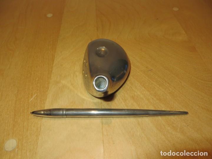 Estilográficas antiguas, bolígrafos y plumas: Conjunto juego escribanía porta bolígrafo soporte sobremesa Golf metal plateado - Foto 13 - 254820470