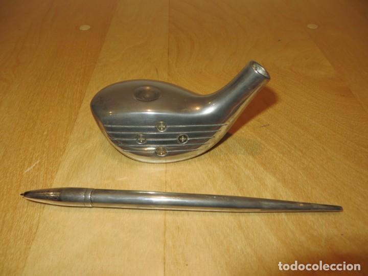 Estilográficas antiguas, bolígrafos y plumas: Conjunto juego escribanía porta bolígrafo soporte sobremesa Golf metal plateado - Foto 14 - 254820470