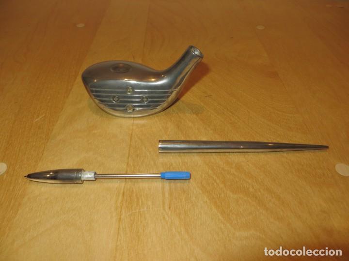 Estilográficas antiguas, bolígrafos y plumas: Conjunto juego escribanía porta bolígrafo soporte sobremesa Golf metal plateado - Foto 15 - 254820470