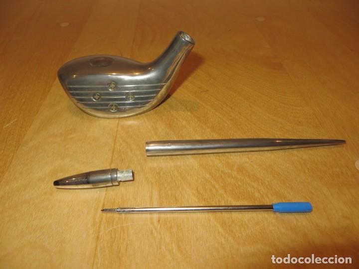 Estilográficas antiguas, bolígrafos y plumas: Conjunto juego escribanía porta bolígrafo soporte sobremesa Golf metal plateado - Foto 16 - 254820470