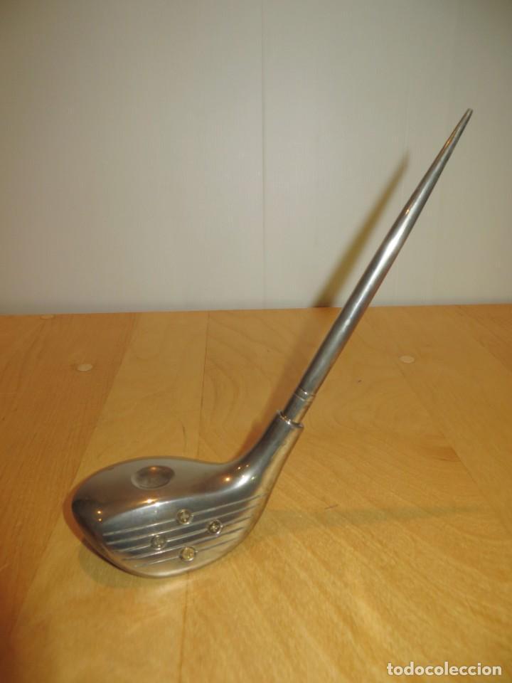 Estilográficas antiguas, bolígrafos y plumas: Conjunto juego escribanía porta bolígrafo soporte sobremesa Golf metal plateado - Foto 17 - 254820470