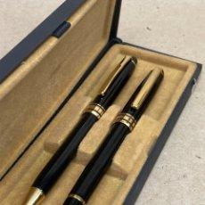 Estilográficas antiguas, bolígrafos y plumas: BOLÍGRAFO Y PLUMA CUERPO LACADO NEGRO. Lote 262627900