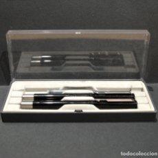 Estilográficas antiguas, bolígrafos y plumas: CONJUNTO JUEGO PLUMA ESTILOGRÁFICA Y BOLÍGRAFO PARKER LACADO NEGRO. Lote 265555934