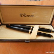Estilográficas antiguas, bolígrafos y plumas: FLAMINAIRE LES STYLOS - BOLÍGRAFO Y PLUMA - SIN USAR - ESTUCHE ORIGINAL.. Lote 266789644