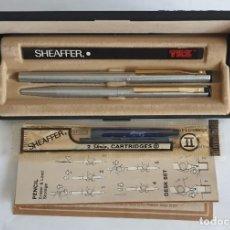 Estilográficas antiguas, bolígrafos y plumas: CONJUNTO PLUMA Y BOLÍGRAFO SHEAFFER TRZ. Lote 267575924