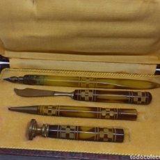 Stilografiche antiche, penne a sfera e penne: ANTIGUO JUEGO DE ESCRITORIO S. XIX. Lote 272755133