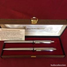 Stilografiche antiche, penne a sfera e penne: JUEGO DE PAPER MATE BOLÍGRAFO Y PORTAMINAS EN ACERO NUEVO. Lote 273453778