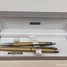 Stilografiche antiche, penne a sfera e penne: JUEGO EN ESTUCHE PLUMA Y BOLIGRAFO INOXCROM. Lote 275593273
