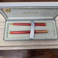 Stilografiche antiche, penne a sfera e penne: PLUMA Y BOLÍGRAFO INOXCROM GOLD ELECTRO PLATED. Lote 286900468