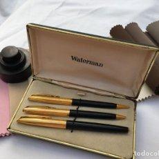 Estilográficas antiguas, bolígrafos y plumas: JUEGO DE TRES PIEZAS WATERMAN EN ESTUCHE. Lote 287487208