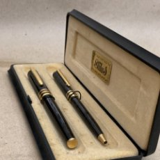 Stilografiche antiche, penne a sfera e penne: JUEGOS BOLÍGRAFO Y PLUMA MARMOLADO GRIS. Lote 287941583