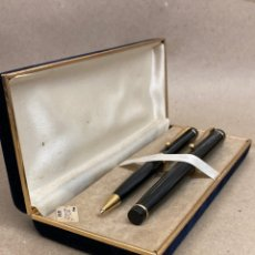 Stilografiche antiche, penne a sfera e penne: JUEGO BOLÍGRAFO Y PLUMA CUERPO LACADO NEGRO. Lote 287942453