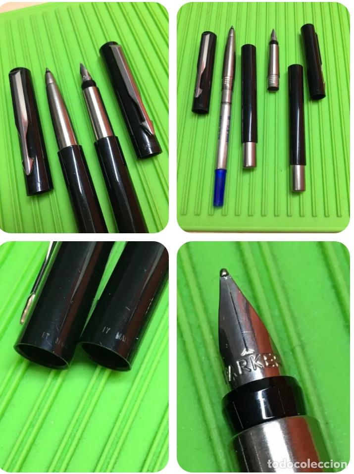 Estilográficas antiguas, bolígrafos y plumas: Set Parker Pluma+Rollerball Vector - Foto 2 - 289485878