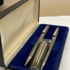 Canetas de tinta permanente antigas, esferográficas e plumas: JUEGO BOLÍGRAFO Y PORTAMINAS CUERPO METÁLICO. Lote 290973018