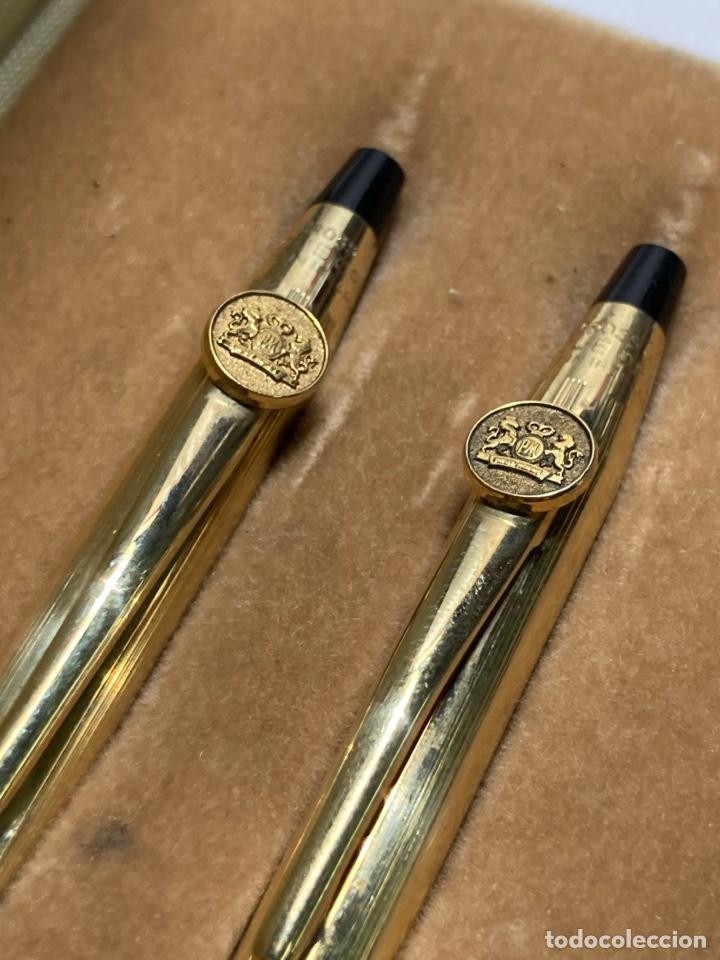 Estilográficas antiguas, bolígrafos y plumas: Juegos cross Century laminado oro ireland con escudo pm y dos Leones rampantes - Foto 3 - 293659913