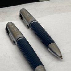 Estilográficas antiguas, bolígrafos y plumas: JUEGO BOLÍGRAFO Y PORTAMINAS ONCE CUERPO LACADO GRIS. Lote 295438663