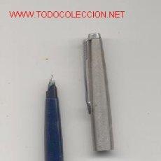 Plumas estilográficas antiguas: PARKER CUERPO BAQUELITA AZUL Y CAPUCHÓN DE ACERO. Lote 26913532