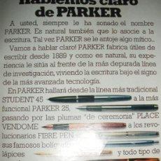 Plumas estilográficas antiguas: 4 HOJAS DE PUBLICIDAD DE PLUMAS PARKER.. Lote 20530928