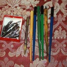 Plumas estilográficas antiguas: BONITO LOTE DE 6 PLUMINES DE MADERA Y 1 DE METAL - PRINCIPIOS DEL S.XX. Lote 37196271