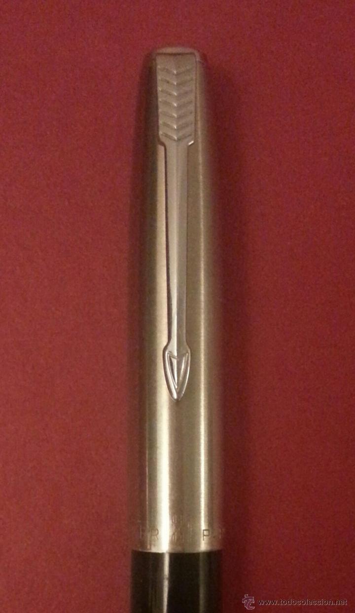 Plumas estilográficas antiguas: ANTIGUA PLUMA ESTILOGRÁFICA PARKER 21 MADE IN USA ACERO Y NEGRA - 818 - Foto 2 - 40549944