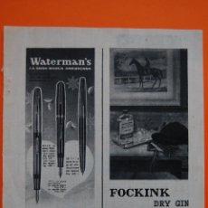 Plumas estilográficas antiguas: PUBLICIDAD ORIGINAL - WATERMANS GRAN MARCA AMERICANA - 1959 - GINEBRA FOCKINK. Lote 44224101