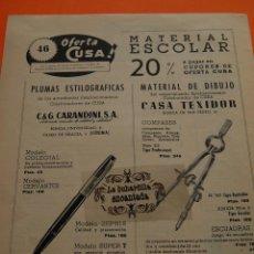 Penne stilografiche antiche: PUBLICIDAD ORIGINAL - AÑO 1949 - PLUMAS CARANDINI Y MATERIAL DE DIBUJO. Lote 44722709