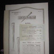 Plumas estilográficas antiguas: CATALOGO DE PLUMAS - LAPICERO STYLOMINE STYLOTO - CASA HASSINGER S.A - AÑO 1932 - VER FOTOS. Lote 45482382