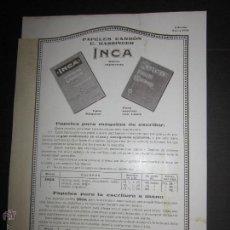 Plumas estilográficas antiguas: CATALOGO DE PAPEL CARBON INCA - CASA HASSINGER S.A - AÑO 1932 - VER FOTOS. Lote 45482436