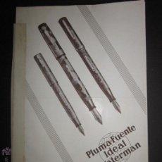 Plumas estilográficas antiguas: CATALOGO DE PLUMAS - PLUMA FUENTE IDEAL WATERMAN - CASA HASSINGER S.A - AÑO 1931 - VER FOTOS. Lote 45482472