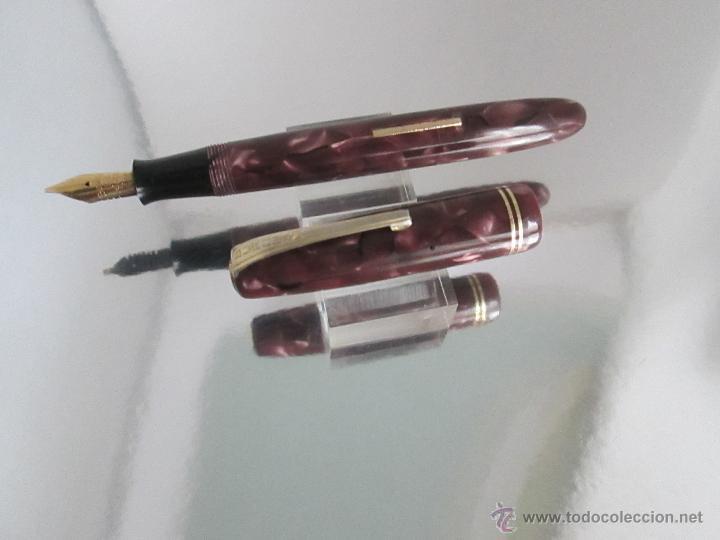 Plumas estilográficas antiguas: 712//PLUMA ESTILOGRÁFICA-BURNHAM 55-ENGLAND-PERFECT0 ESTADO-MARMOL. VIOLÁCEOS-VER FOT - Foto 15 - 28156406