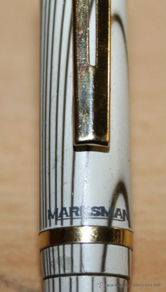 Plumas estilográficas antiguas: PLUMA ESTILOGRÁFICA - MARKSMAN - GRIS Y BLANCO - Foto 3 - 48322900