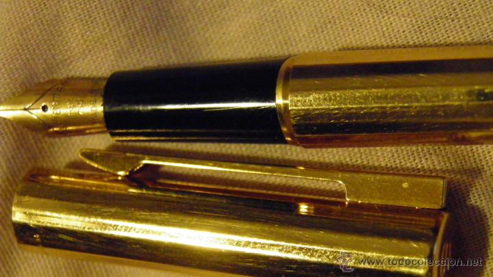 WATERMAN, PLAQUE ORO, PLUMIN 18 KT. BUEN ESTADO.,MADE IN FRANCE (Plumas Estilográficas, Bolígrafos y Plumillas - Plumas)